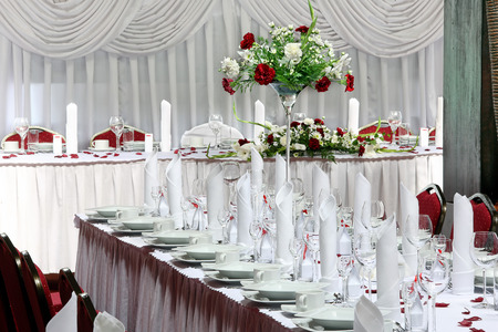 dinner hall: Table set for event party or wedding reception