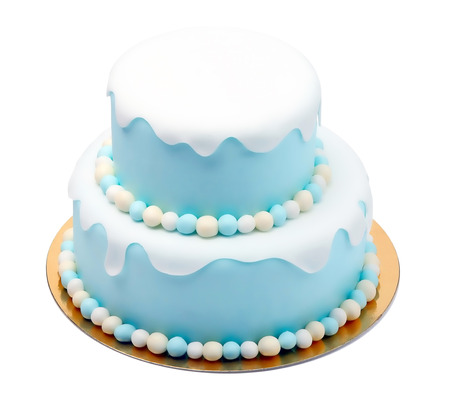 Birthday blue cake with mini balls isolated on white background