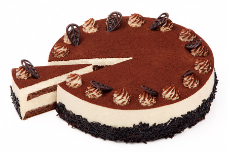 Cream coffee cake with icing on white background