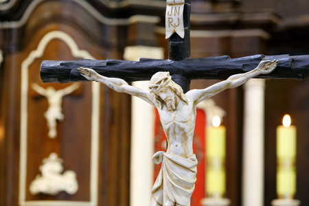 easter triduum: Figure of Jesus crucified, in the church during Easter Stock Photo