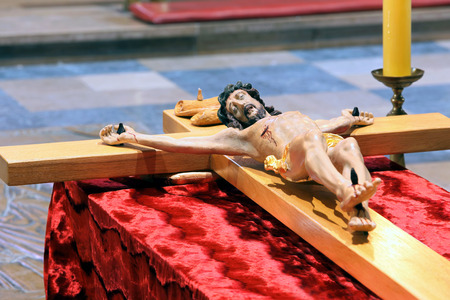 easter triduum: Wooden figure of Jesus crucified, in the church during Paschal Triduum Easter