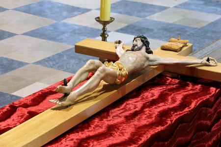 paschal: Wooden figure of Jesus crucified, in the church during Paschal Triduum Easter