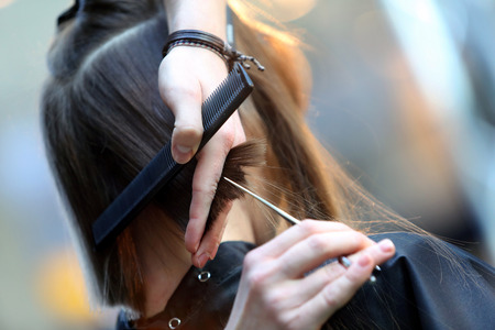 Hairdresser trimming blond hair with scissors Zdjęcie Seryjne - 40904340