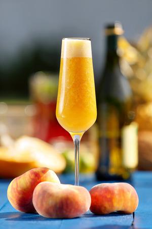 Italian Bellini alcoholic cocktail with peach
