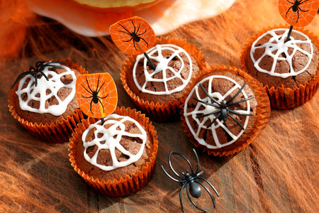 Chocolate muffin cake with spider web on Halloween day