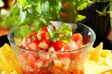 gallo: Mexican pico de gallo salsa with nachos and coriander