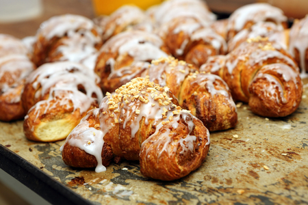 recipe decorated: Fresh croissants iced with delicious cream