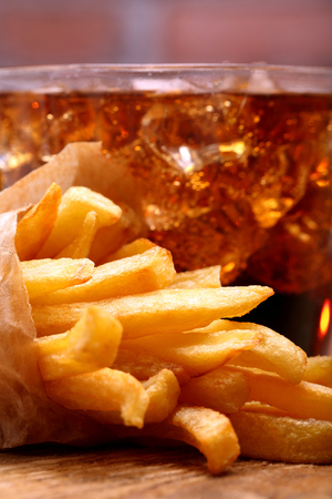 coke: French fries and coke with ice