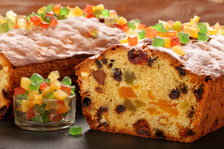 Easter fruitcake on the stone background