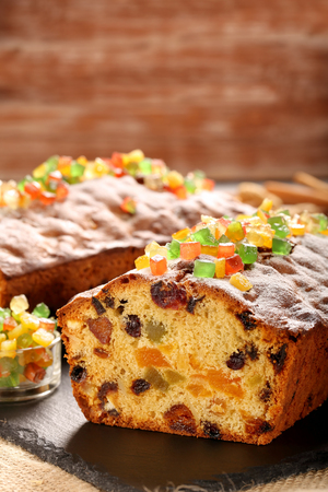 fruitcake: Easter fruitcake on the stone background and space for text