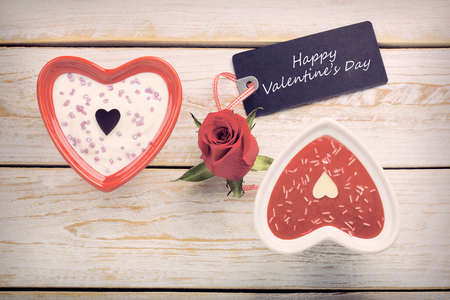 sweet treat: Sweet treat for Valentines Day with card for text in vintage style