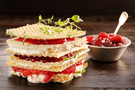 strawberry jam sandwich: Yellow waffle with cottage cheese and jam