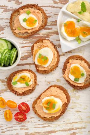 tuna mayo: Sandwich with salmon paste and egg Stock Photo