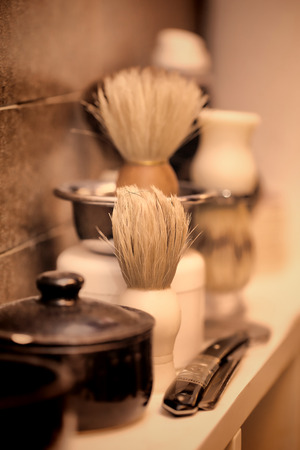 Equipment on barber shop in vintage style 版權商用圖片 - 56559202