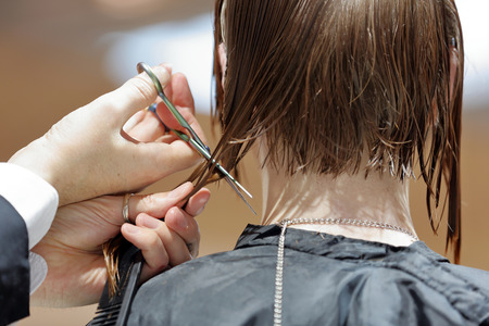 trimming scissors: Hairdresser trimming brown hair with scissors