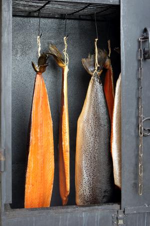 Smoked salmon fish in a smoker Stock Photo