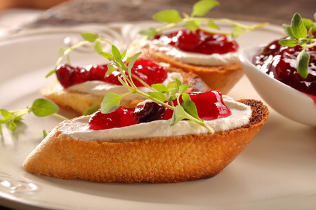 strawberry jam sandwich: Toast with white cottage cheese cherry jam and fresh herbs