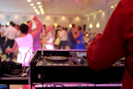 Dancing couples during the party or wedding celebration