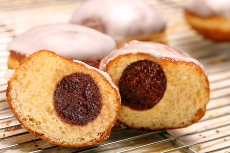 thursday: Donuts with jam. Traditional Polish cookies on Fat Thursday