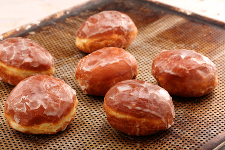 Traditional Polish Donuts with jam on Fat Thursday