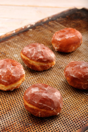thursday: Traditional Polish homemade donuts with jam on Fat Thursday Stock Photo