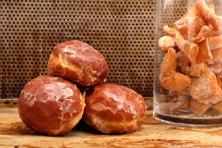 thursday: Donuts and faworki. Traditional Polish cookies on Fat Thursday and space for text
