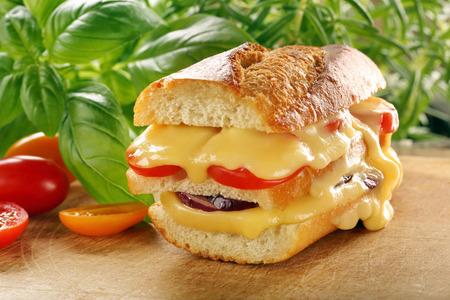 Toast frais avec fromage fondu tomate et oignon sur fond en bois Banque d'images - 68163389