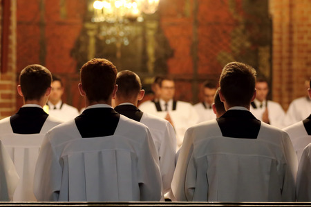 The young clerics of the seminary during Mass Reklamní fotografie