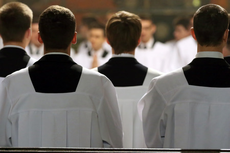 The young clerics of the seminary during Mass Imagens