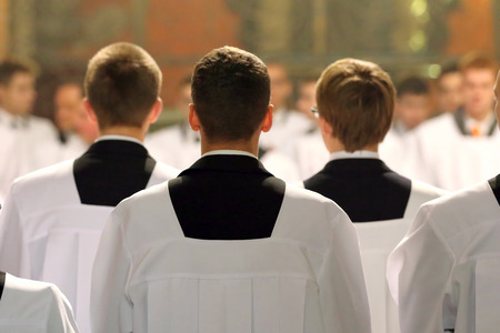 The young clerics of the seminary during Mass Imagens - 68172024