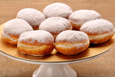 Traditional donuts with liqueur and sugar
