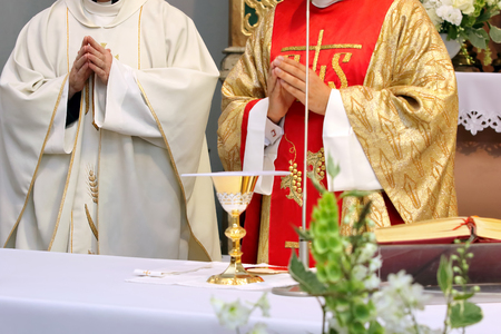 Two priests celebrate mass at the church