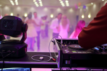 Dancing couples during party or wedding celebration 