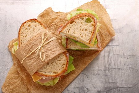 Fresh sandwich with ham cheese lettuce and yogurt sauce