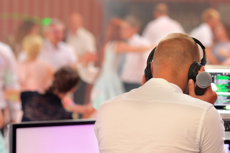 Dancing couples during party or wedding celebration  Banco de Imagens