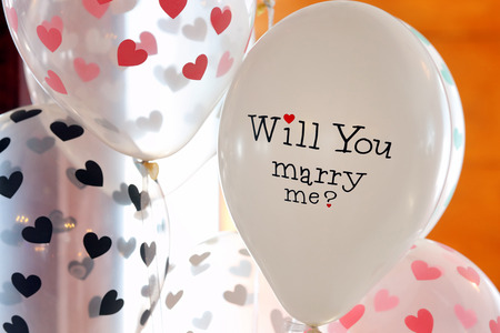 Balloon with inscription, will you marry me for wedding reception
