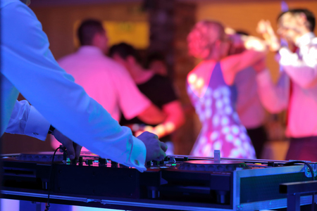 Dancing couples during party or wedding celebration  스톡 콘텐츠