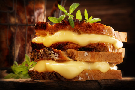 Whole grain bread sandwich with cheese and hrbs on wooden background and empty space for text