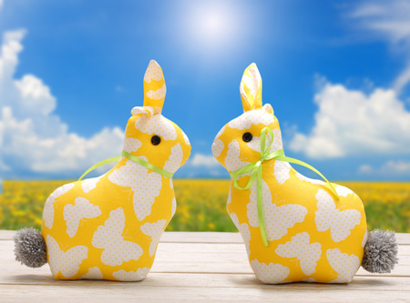 Two Easter yellow bunnies and empty space for text. Easter holiday concept.