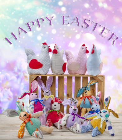 Easter bunnies and hens with Happy Easter text. Easter holiday concept.