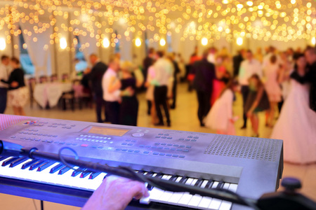 Dancing couples during party event or wedding reception
