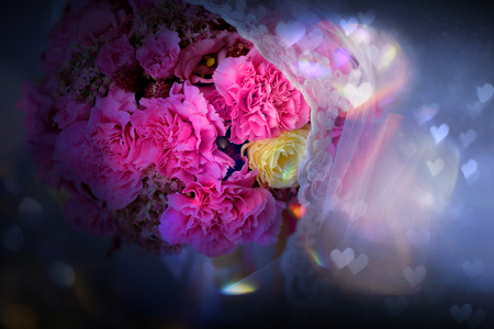 Brides bouquet and empty space for text 版權商用圖片