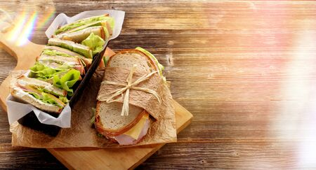 Fresh sandwich with ham cheese and lettuce in bakery mold and space for text 版權商用圖片