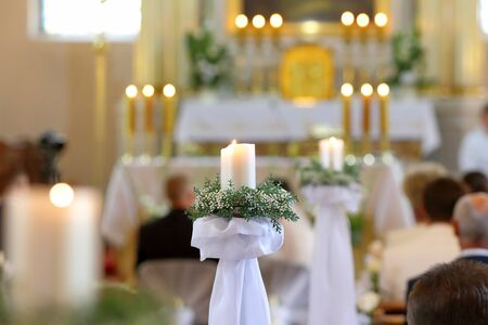 Candles and decorations during a wedding ceremony
