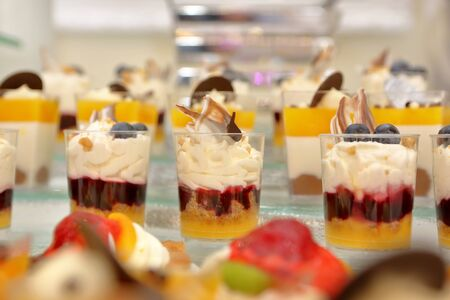 Catering sweets, closeup of various kinds of desserts on event or wedding reception