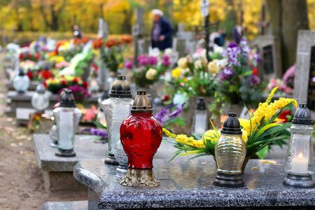 Polish traditional cemetery on the feast of all saints day at 1st November and empty space for text