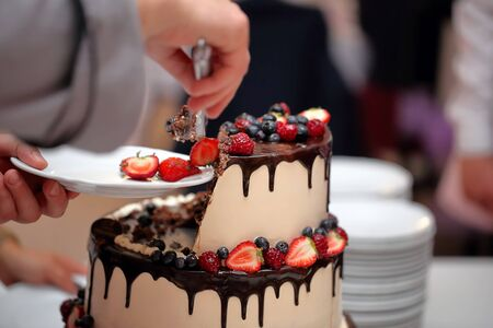 Wedding cake at a party and waiters in the background with empty space for text