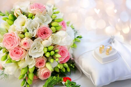 Wedding bouquet of bright flowers and empty space for text