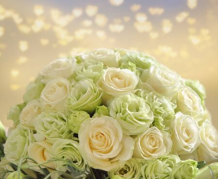 Wedding bouquet of bright yellow flowers and empty space for text