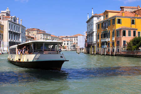 Italy, Venice - 13 June 2019: Vaporetto, vaporetti, water tram in Venice